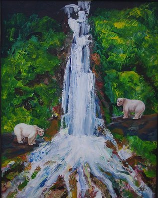 Shelly Leitheiser; Human Bears At The Waterfall, 2010, Original Painting Oil, 16 x 20 inches. Artwork description: 241  This painting is surrealism, and yes those bears have human heads. Its my way of surprising the viewer and showing people that maybe people and animals have more in common than we think. This is 16 x 20 ...