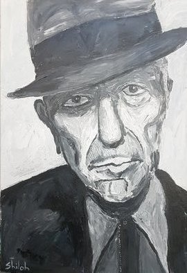 Dan Shiloh; Homage To Leonard Cohen, 2018, Original Painting Acrylic, 70 x 100 cm. Artwork description: 241 One of my favourites singers. Upon his death I decide to paint a portrait of hime in black and white acrylic spatula painting...