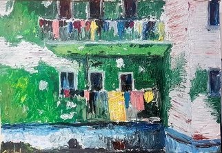 Dan Shiloh; Laundry Hanging In Naples, 2018, Original Painting Acrylic, 70 x 100 cm. Artwork description: 241 An acrylic spatula painting of laundry hanging in Naples Italy, from a photo taken by my face book friend Ira Plotnikova. ...