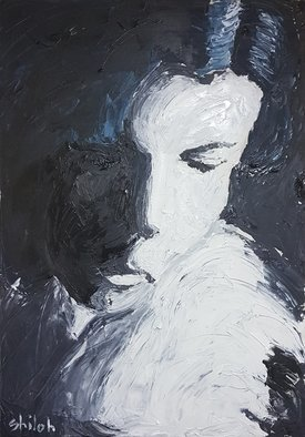 Dan Shiloh; Woman In Black, 2018, Original Painting Acrylic, 70 x 100 cm. Artwork description: 241 From a photo that I took while listening to Leonard Cohen song First we take Manhattan then we take Berlin.Its an acrylic painted with spatula. ...