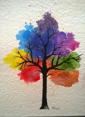 Shivani  Akant; Rainbow Tree, 2018, Original Painting Other, 9 x 10 inches. Artwork description: 241 Rainbow tree, rainbow, colorful...