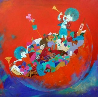 Shiv Kumar Soni; THE DREAMS OF CHILDHOOD, 2016, Original Painting Acrylic, 30 x 30 inches. Artwork description: 241  in my paintings i want to show the things which i have seen and observed in the childhood. I enjoyed very much with beautiful thing like kites, birds, ballons, toys, tradys, hats, and playing in rainy weather, imagining ownself over the clouds, flying with kites and many ...