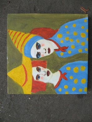 Shmuela Padnos; NITA N ZETA, 2007, Original Painting Oil, 9 x 9 inches. Artwork description: 241  nita and zita lived in new orleans they performed vadville style on bourbon street. they never married and lived together. their outfits were marvels of unique homemade designs.  ...