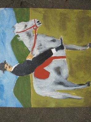 Shmuela Padnos; Rom Riding To A Wedding, 2007, Original Painting Oil, 9 x 9 inches.