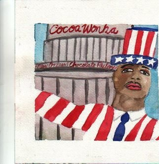 Shmuela Padnos; Cocoa Wonka, 2006, Original Watercolor, 1 x 8 inches. Artwork description: 241 god bless new orleans and our chocolate mayor ray nagin coca wonka and the new orleans chocolate factory...