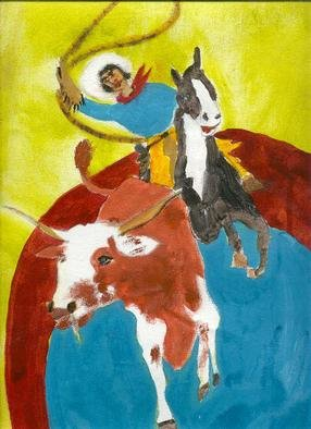 Shmuela Padnos, Cowgirl bull roper, 2001, Original Painting Oil, size_width{cowgirl_bull_roper-996894978.jpg} X 32 inches