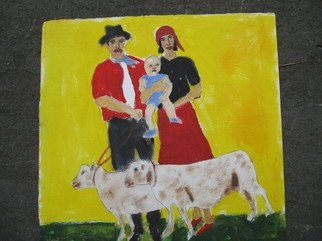 Shmuela Padnos; Gypsie Family And Lambs, 2007, Original Painting Oil, 9 x 9 inches.