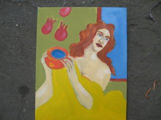 Shmuela Padnos; Sontina, 2007, Original Painting Oil, 9 x 12 inches. Artwork description: 241  she is wise as pomegrants fill her vessel ...