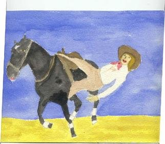 Shmuela Padnos, Trickrider, 2001, Original Watercolor, size_width{trickrider-992018708.jpg} X 5 inches