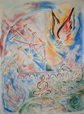 Shoshannah Brombacher, 'Bach And The Sefirot', 2006, original Pastel, 18 x 24  x 1 cm. Artwork description: 1911  This is a mystical rendering of the music of Bach and the Sefirot, the kabbalistic tree. This drawing is not available anymore, but ask me about similar works and other composers. I take commissions of your favorite music or composer connected to different themes. For ALL DETAILS ( ...