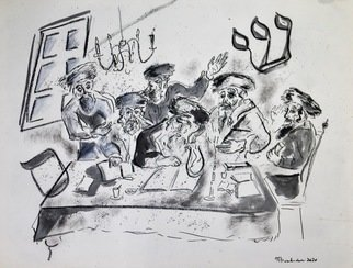 Shoshannah Brombacher; Shas Six Orders Of The Mishnah, 2020, Original Drawing Ink, 24 x 18 inches. Artwork description: 241 The Mishnah is divided in six orders, Shisha Sidrei Mishnah, represented by a shin and a samekh and six rabbis studying the Mishnah.  Note there is a little stain in the top right corner of the drawing caused by oil in the artists studio.  The drawing is ...