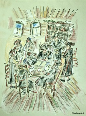 Shoshannah Brombacher; Beis Midrash, 2020, Original Drawing Pastel, 18 x 24 inches. Artwork description: 241 This drawing in oil pastel on tinted paper shows a typical scene in a Beit Midrash, a house of study. A rabbi is learning and discussing with his students. ...