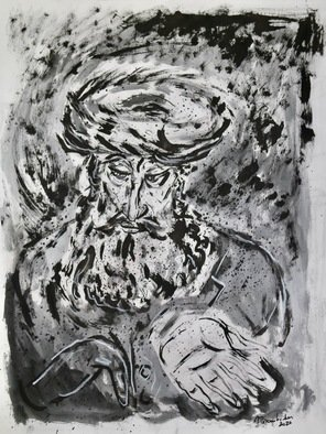 Shoshannah Brombacher; Shpoler Zeida Study House, 2020, Original Drawing Ink, 18 x 24 inches. Artwork description: 241 This is a portrait of a studying rabbi in a series I made about the famous Chassidic Master known as the Shpoler Zeida. The technique is charcoal and ink. ...