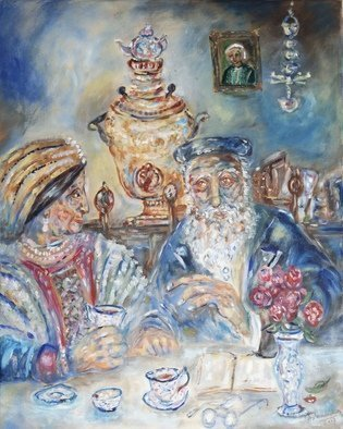 Shoshannah Brombacher; tea on shabbos afternoon, 2017, Original Painting Oil, 16 x 20 inches. Artwork description: 241 An old Chassidic couple cherishes their quiet afternoon tea on Shabbos, with their old samovar, books and memories. ...