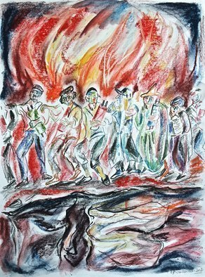 Shoshannah Brombacher; thus danced our forefathers, 2016, Original Drawing Pastel, 14 x 18 inches. Artwork description: 241 Thus Danced Our Fathers Shoshannah Brombacher 2016 Aqua pencil pastel on paperThe religious Zionist poet Isaac Lamdan  1899- 1954  made aliyah in 1920 and in 1926 penned his epic poem about the siege of Masada, one of the last Jewish strongholds against the Romans and the ...