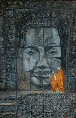 Nandini Sharma; Buddha Angkor Wat, 2019, Original Painting Acrylic, 24 x 36 inches. Artwork description: 241 Beautiful  contrast with monks inspired me...