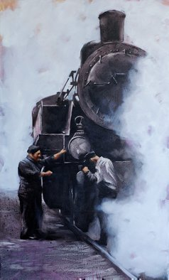 Igor Shulman; Steam Machines 6, 2018, Original Painting Oil, 23.5 x 39.4 inches. Artwork description: 241 I have always admired these machines. They are huge, like mammoths and scary, like a terminator. Shrouded in steam, they make some sort of strange sounds. They enchant and frighten. They reflected a whole era. And these scared obey the man. Incredible    The picture is painted in ...