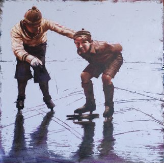 Igor Shulman; The First Ice, 2018, Original Painting Oil, 39.4 x 39.4 inches. Artwork description: 241 I know what I m talking about. I spent all my childhood on such skates. It was the most interesting time in my life. Overcoming of self, overcoming of speed, overcoming of balance. The first victory. The first disappointments. Sports in childhood, this is a real school ...