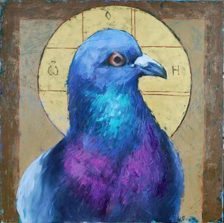 Igor Shulman, 'The Very Dove That Everyone', 2020, original Painting Oil, 47.2 x 47.2  x 2 inches. Artwork description: 1758 If you thought it was an icon, then you were mistaken. This is a portrait of a dove performed in an iconographic manner. Rather, it will even be said using compositional and color techniques of iconography.And if you understand what kind of pigeon is in question, ...