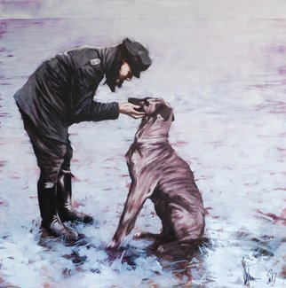 Igor Shulman; Winter Tales Iii, 2018, Original Painting Oil, 39.4 x 39.4 inches. Artwork description: 241 This picture is not about dogs. And not about winter. She s not even about people. It s about love. About a person s love for a friend. I m against having animals considered family members. I m for the beast to become your friend. And you ...