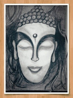 Shweta Jaiswal; Buddha, 2014, Original Drawing Charcoal, 2 x 15 inches. Artwork description: 241  Buddha face with charcoal ...