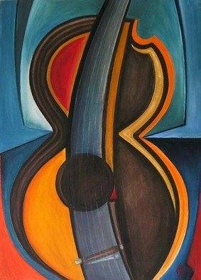 Alexander Sibachev, Guitar, 2003, Original Painting Oil, size_width{Guitar-1174418948.jpg} X 43 x  inches