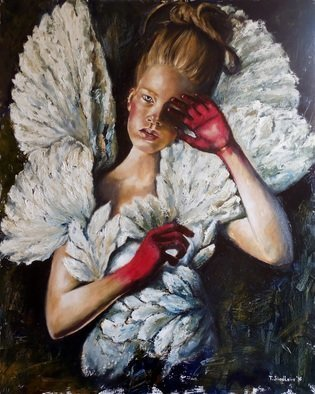 Tatiana Siedlova; Angels Don T Cry By Siedlova, 2016, Original Painting Oil, 80 x 100 cm. Artwork description: 241  blue, white, wings, weeps, angels, feathers, arms, girl...
