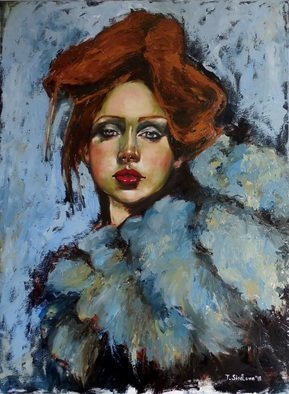 Tatiana Siedlova; Josephine, 2016, Original Painting Oil, 60 x 80 cm. Artwork description: 241 I was born in a thunderstormI grew up overnightI played aloneI played on my ownI survivedHeyI wanted everything I never hadLike the love that comes with lightKeywords: actress, redhead, singer, blue, white, woman, feathers, fur, girl...
