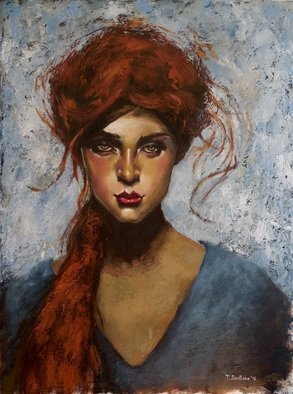 Tatiana Siedlova; Redhead Girl, 2016, Original Painting Oil, 60 x 80 cm. Artwork description: 241 The girl that I like is young, quite petite, I might addBluish- greenish turquoise eyes, like the forest and the sea combined Her voice, a sweet, gentle overtone  the ocean, calm waves that reach ashoreThe breeze, blows the forest trees  a rustle, soothing to the ...
