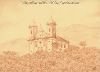 Enaile D. Siffert, Church in Ouro Preto, 2007, Original Drawing Pencil, size_width{church_in_Ouro_Preto-1255723336.jpg} X 21 cm