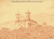 Artist: Enaile D. Siffert's, title: church in Ouro Preto, 2007, Drawing Pencil