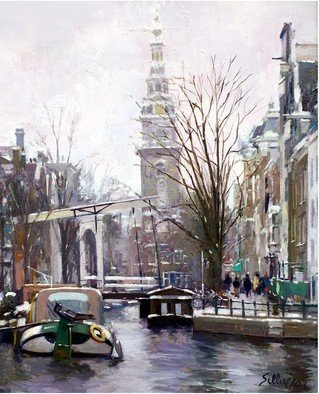 Francisco Sillue; Luz Invernal En Amsterdam, 2003, Original Painting Oil, 38 x 46 cm. Artwork description: 241 Winter Light in Amsterdam. View of the old drawbridge in  Staalstraat  in the background, the church and canal  Groenburgwal  seen from  Amstel  with the channel  Binnenamstel  in front. Claude Monet  1840- 1926 , He painted this canvas, from a very similar position more than 100 years ago.The ...