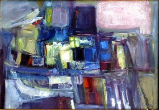 Francisco Sillue; Puerto De Bergen Noruega, 1967, Original Painting Oil, 100 x 73 cm. Artwork description: 241 Port of Bergen, Norway.Artworks, painted in oil on canvas, depicting the typical houses of the Bergen port reflecting on the water.abstract era of the artist. R. G....