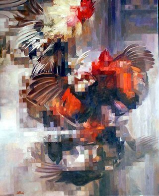 Francisco Sillue; Rampant, 2018, Original Painting Oil, 61 x 76 cm. Artwork description: 241 Rooster Fight, classic painting of the time.Movement, depicting two fighting cocks, in cockfight, oil painting on canvas, figures are represented in motion with different overlapping positions, colors and movement define the calligraphy of this artist...