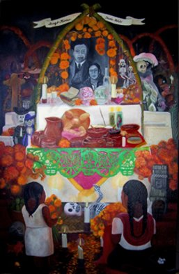 Silvestre Miranda; Traditional Mexican Altar..., 1993, Original Painting Oil, 36 x 48 inches. Artwork description: 241  Representation of the Festive Day of the Day in traditional mexican style of Diego Rivera and Frida Kahlo. ...