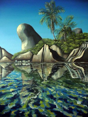 Emese Simon; seychelles scene, 2002, Original Painting Oil, 28 x 38 inches. Artwork description: 241 oil painting of the  Seychelles rock formations on the beach, with crystal clear blue and turquoise water...