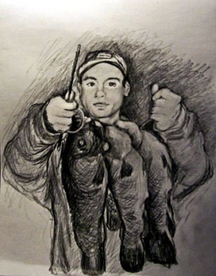 Siona Koubek; Young Man And His Catch O..., 2012, Original Drawing Pencil, 9 x 12 inches. Artwork description: 241    young man, fishing, portrait, fish,    ...