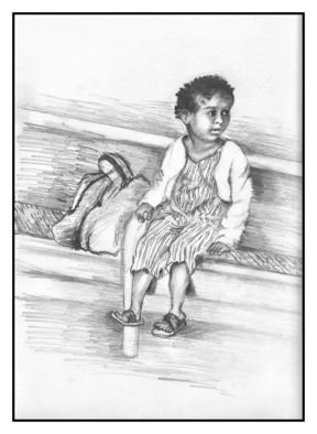 Siona Koubek; Little Girl, 2011, Original Drawing Pencil, 10 x 8 inches. Artwork description: 241  girl, young, child ...