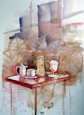 Sipos Lorand; Morning Cafe, 2008, Original Watercolor, 21 x 29 cm.