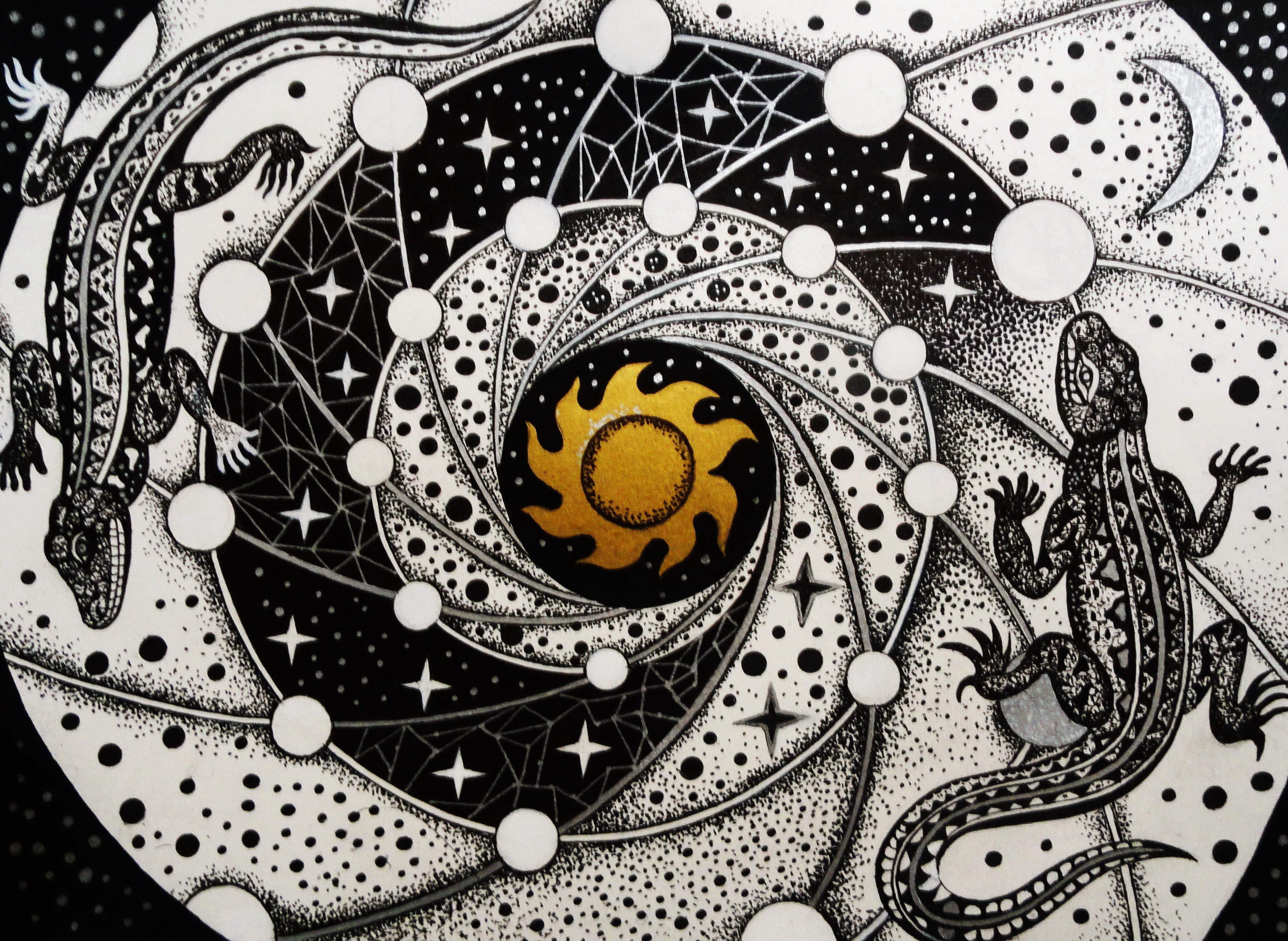 Nina Tokhtaman; Star Atlas, 2020, Original Drawing Ink, 15 x 11 inches. Artwork description: 241 ink on paper...