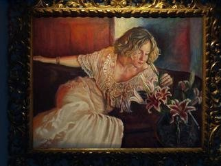 Morris Docktor; Bride In Antique Wedding Gown, 2013, Original Painting Oil, 24 x 18 inches. Artwork description: 241   OIl portrait of bride in a romantically sensual style !    ...