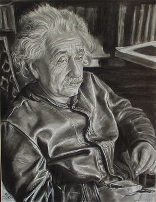 Morris Docktor; GENIUS IN LEATHER, 2010, Original Drawing Charcoal, 18 x 24 inches.