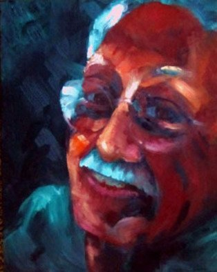 Sue Johnson; Errol, 2011, Original Painting Oil, 11 x 14 inches. Artwork description: 241  I was messing around with wet on wet painting and fell into making small portraits of friends.  This is my partner, Errol.  He is a consistently happy kind of guy.  Lucky me.     ...