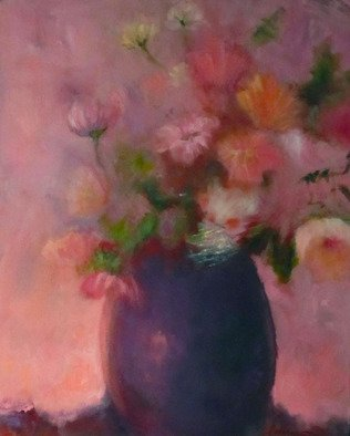 Sue Johnson; In The Pink, 2012, Original Painting Oil, 16 x 16 inches. Artwork description: 241   Feeling pinkish one day.  Had multi colored flowers in a vase. Decidedly short on pink ones so decided to transform them.  Its called artistic license.   ...