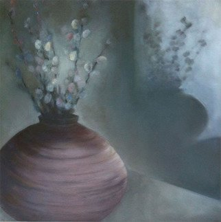 Sue Johnson; The Light Continues To Change, 2012, Original Painting Oil, 16 x 16 inches. Artwork description: 241  The second painting inspired by my pottery vase of pussy willows. Since the light and shadows are always shifting, I could paint a dozen pictures of this image.  ...