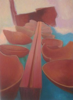 Sue Johnson; The Nunnery, 2011, Original Painting Oil, 22 x 30 inches. Artwork description: 241  While visiting a nunnery in Peru, I took a picture of a double line of huge terra cotta bowls.  This is the result of my attraction to that scene.      ...