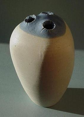 Skip Bleecker; Blue Grey 3 Hole, 2003, Original Sculpture Ceramic, 5 x 8 inches. Artwork description: 241 Handmade, Wheel- thrown, High fired, Porcelain, Ceramic Sculpture with designs based on Organic forms. ...