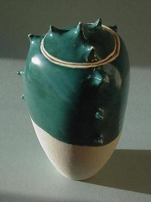 Skip Bleecker; Turquoise Spike Jar, 2003, Original Sculpture Ceramic, 6 x 10 inches. Artwork description: 241 Handmade, Wheel- thrown, High fired, Porcelain, Ceramic Sculpture with designs based on Organic forms. ...