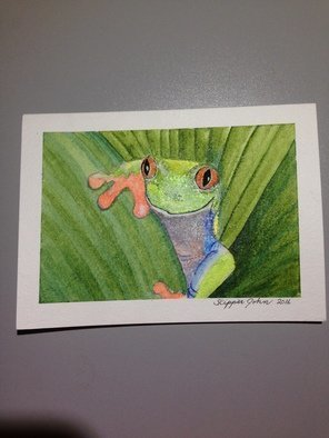 John Rollinson; finer than frog hair, 2016, Original Watercolor, 5 x 7 inches. Artwork description: 241 Tree frog...
