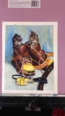 John Rollinson; puss-n-boots, 2016, Original Watercolor, 11 x 14 inches. Artwork description: 241 Kittens in boots...
